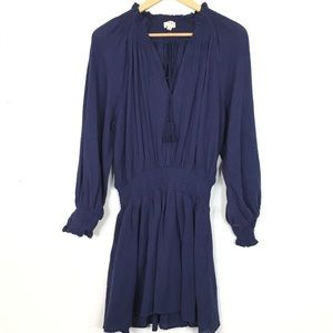 Umgee 100% Cotton Long Sleeve Smocked Mini Dress